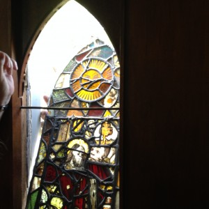 Stained Glass in the Abbey Church being removed for conservation